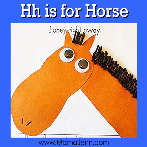 Hh for Horse: MFW Kindergarten Printables