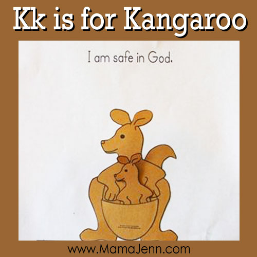 My Father's World Kindergarten Craft and Copywork Pages ~ Kk is for Kangaroo