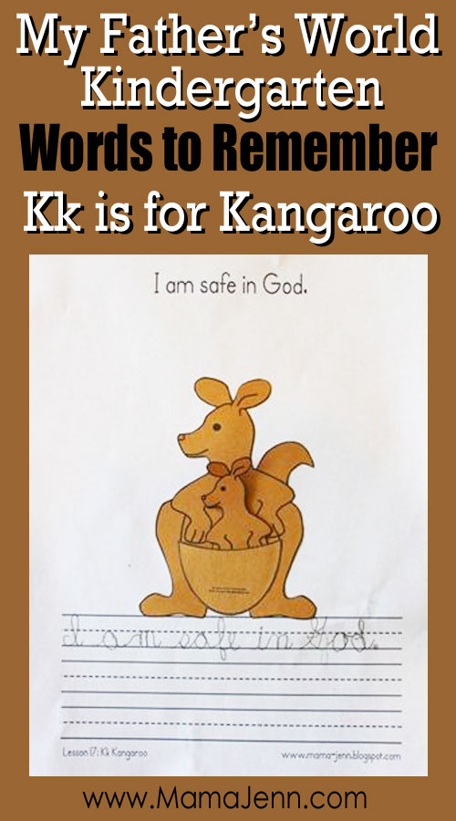 My Father's World Kindergarten Craft and Copywork Printables ~ Kk is for Kangaroo