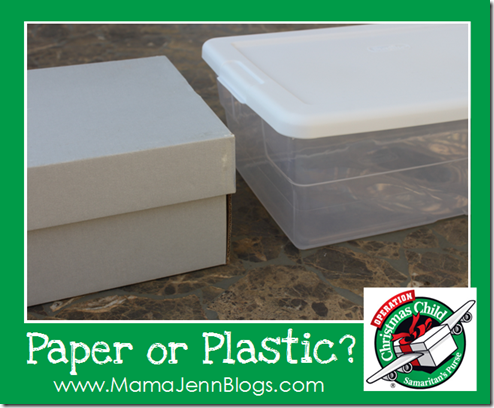 Operation Christmas Child: Paper or Plastic?