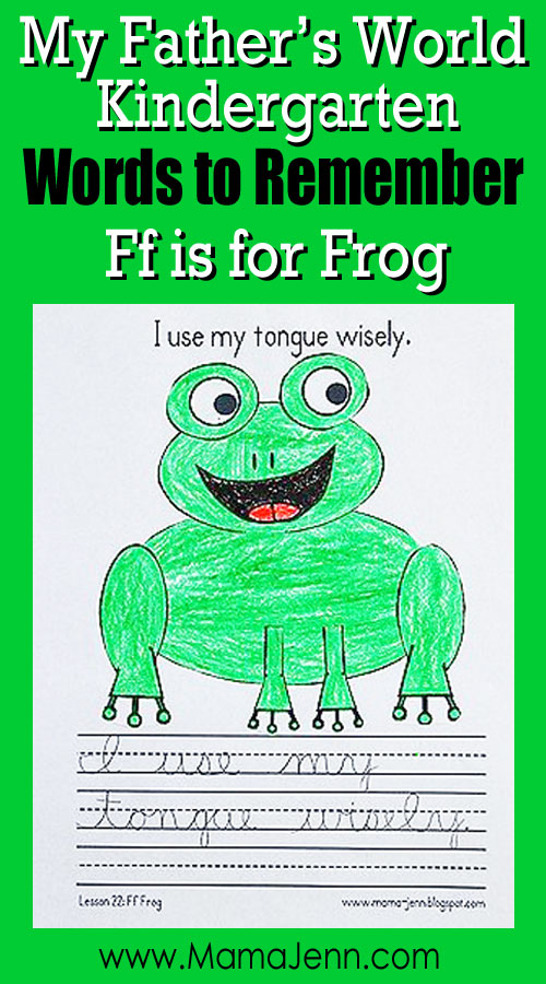 My Father's World Kindergarten Craft and Copywork Printables ~ Ff is for Frog