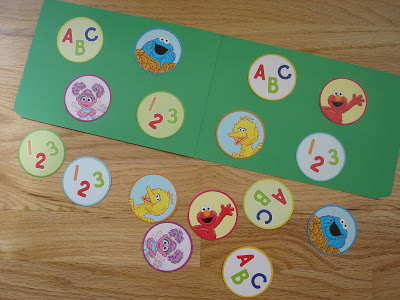 Sesame Street Matching File Folder Game