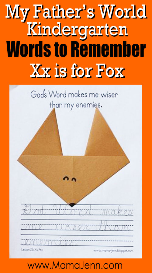 My Father's World Kindergarten Craft and Copywork Printables ~ Xx is for Fox