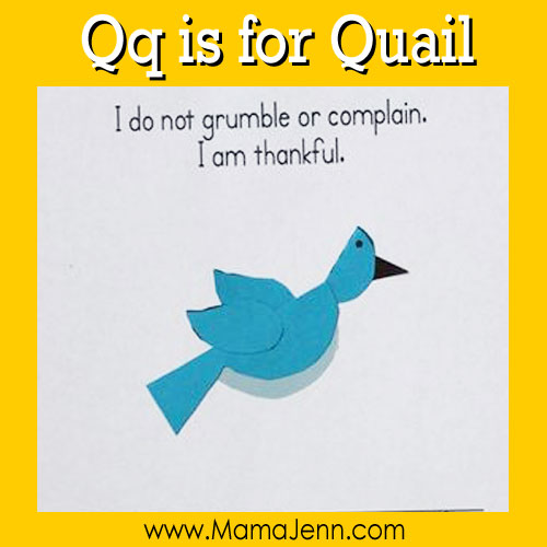 My Father's World Kindergarten Craft and Copywork Pages ~ Qq is for Quail