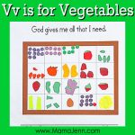 My Father's World Kindergarten Craft and Copywork Pages ~ Vv is for Vegetables