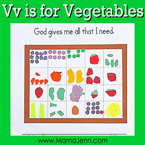 Vv for Vegetables: MFW Kindergarten Printables