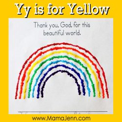 My Father's World Kindergarten Craft and Copywork Pages ~ Yy is for Yellow