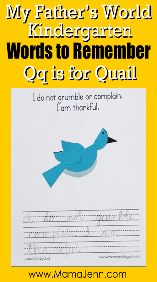 My Father's World Kindergarten Craft and Copywork Printables ~ Qq is for Quail