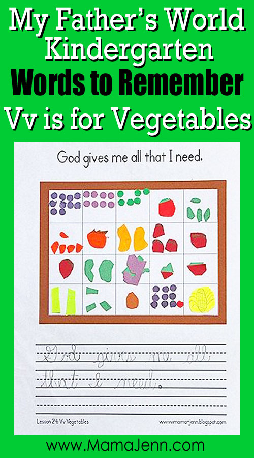 My Father's World Kindergarten Craft and Copywork Printables ~ Vv is for Vegetables