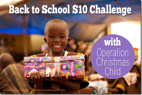 Operation Christmas Child Back to School Challenge