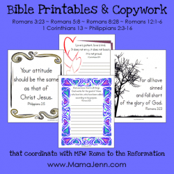 Bible Verse Printables & Copywork {MFW Rome to the Reformation}