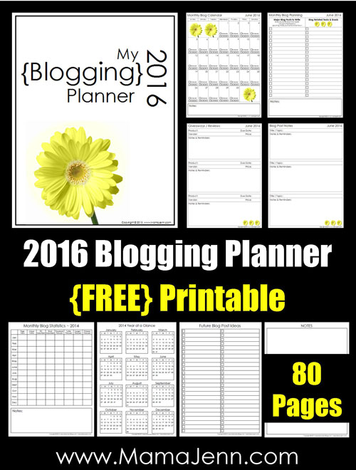 2016 Blogging Planner {FREE Printable}