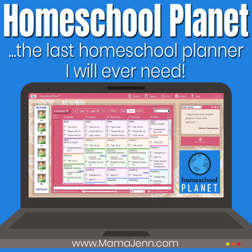 laptop showing Homeschool Planet online planner with text overlay the last homeschool planner I will ever need