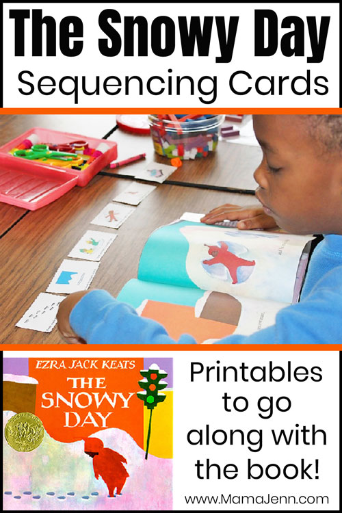 boy using sequencing cards with text overlay The Snowy Day Sequencing Cards Printables to go along with the book
