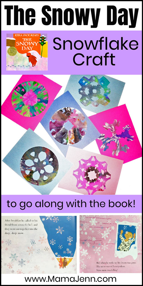 snowflake coffee filter craft and with text overlay The Snowy Day Snowflake Craft to go along with the Book