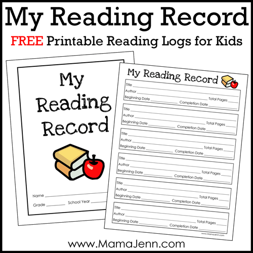 FREE Printable Reading Log for Kids