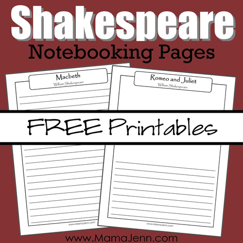 Shakespeare Notebooking Pages Square Graphic