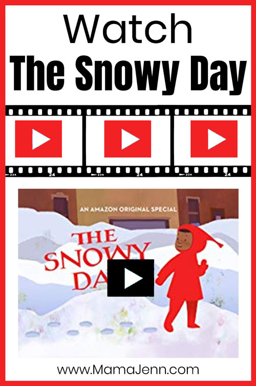 The Snowy Day video cover image with text overlay Watch The Snowy Day