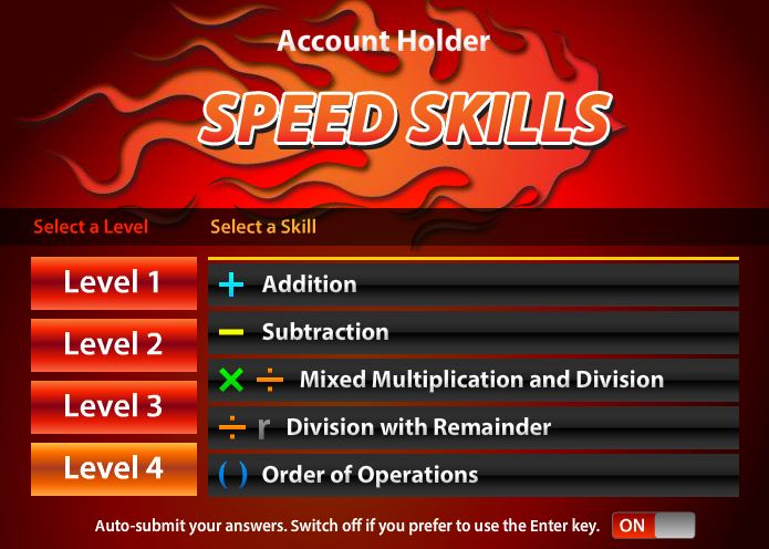 Speed Skillsl Online Math Facts Game