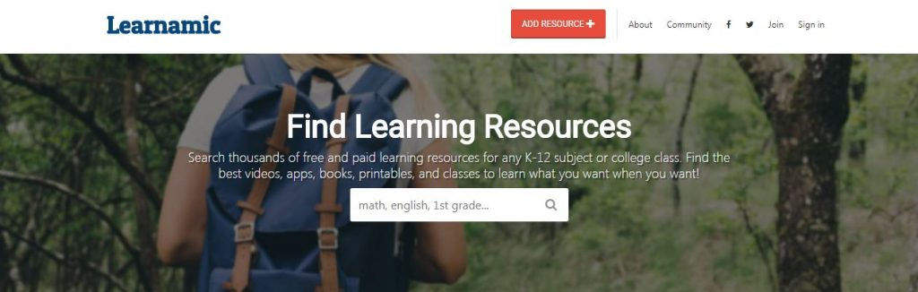 Learnamic Learning Resources Search Tool