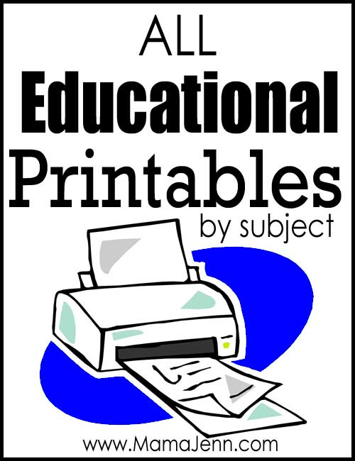 All Educational Printables by Subject