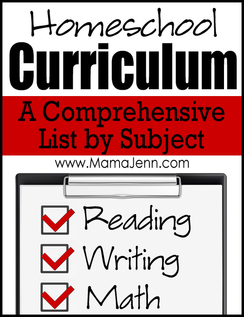 Comprehensive Homeschool Curriculum List
