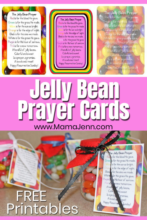 graphic with jars of jelly beans and the Jelly Bean Prayer with text overlay Jelly Bean Prayer Cards