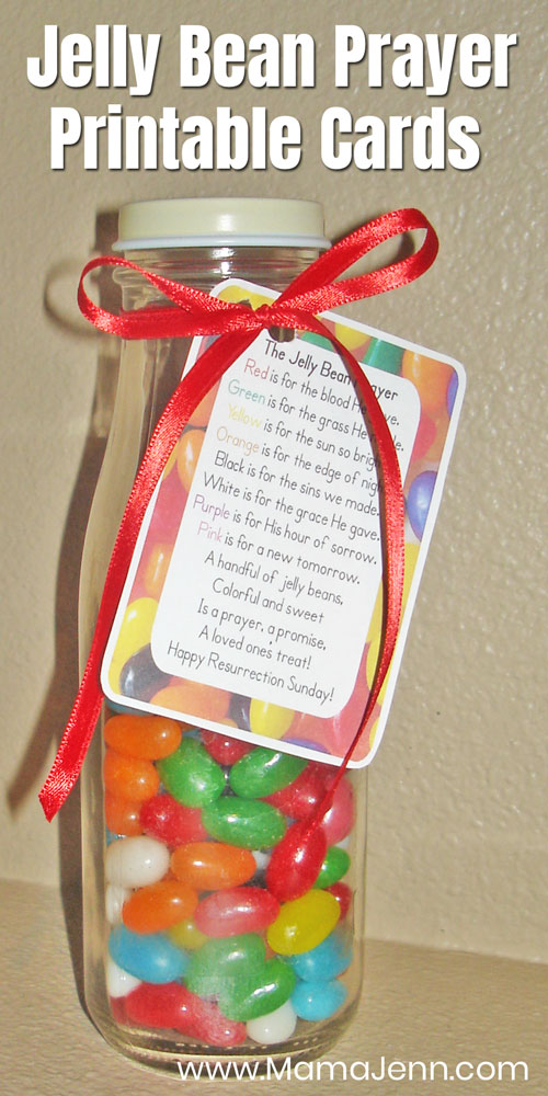 jar filled with jelly beans with The Jelly Bean Prayer card attached with text overlay Jelly Bean Prayer Printable Cards