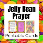 graphic with jelly bean background and Jelly Bean Prayer Cards on white overlay with text Jelly Bean Prayer Printable Cards