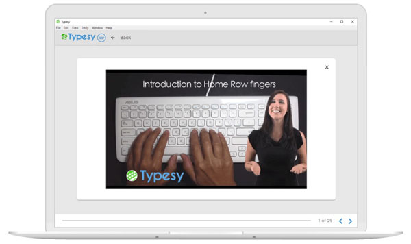 laptop graphic with Typesy instructor on screen