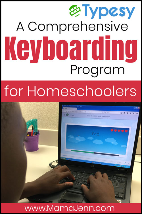 a boy typing on a laptop with text overlay: Typesy A Comprehensive Keyboarding Program for Homeschoolers