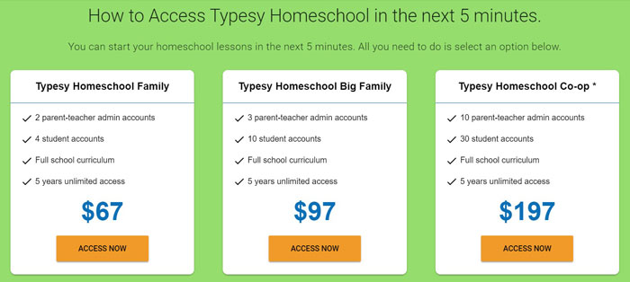 green box with pricing for Typesy Homeschool Keyboarding program