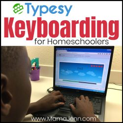 a boy playing a typing game on a laptop with text overlay: Typesy Keyboarding for Homeschoolers