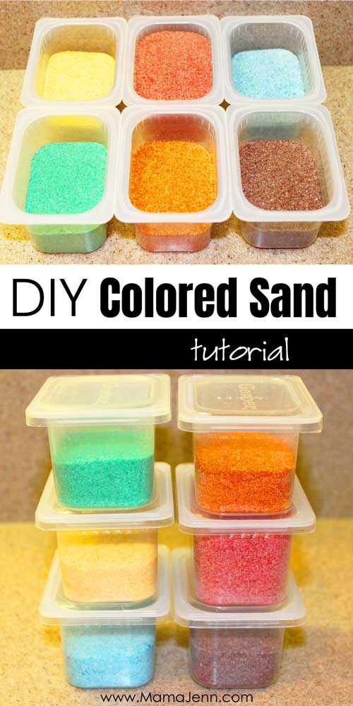 colored sand in containers with text overlay DIY Colored Sand Tutorial