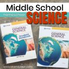 Apologia General Science homeschool textbook and student notebook with text overlay Middle School homeschool Science