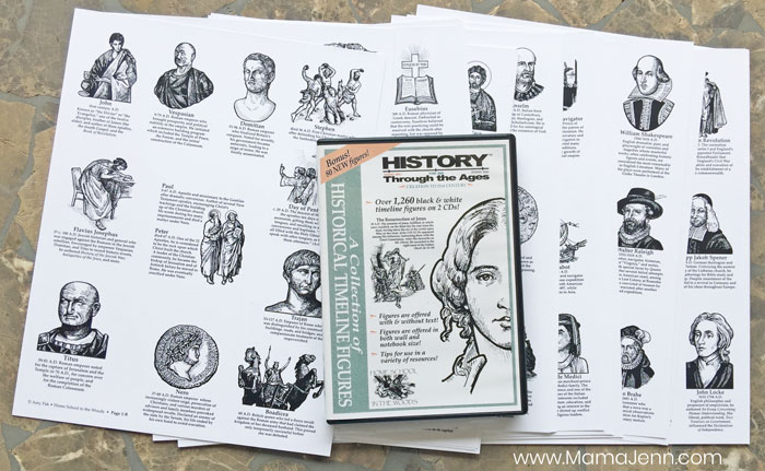 pages of history timeline figures with CD case