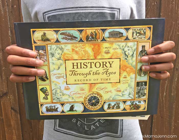 hands holding Home School in the Woods Record of Time history timeline binder