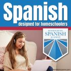 girl with earphones looking at laptop with Homeschool Spanish Academy logo and text overlay Spanish designed for Homeschoolers