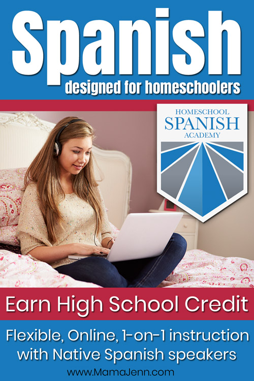 girl with earphones looking at laptop with Homeschool Spanish Academy logo and text overlay Spanish designed for Homeschoolers - Earn High School Credit