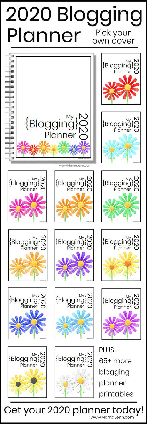 2020 Blogging Planner cover options with different color daisies