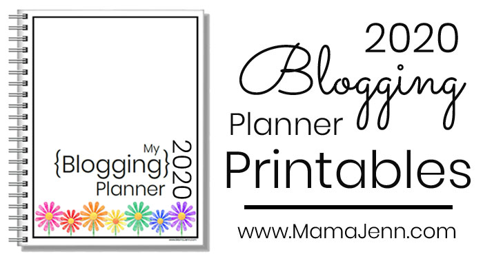 blog planner with colorful daisies and text overlay 2020 Blogging Planner Printables