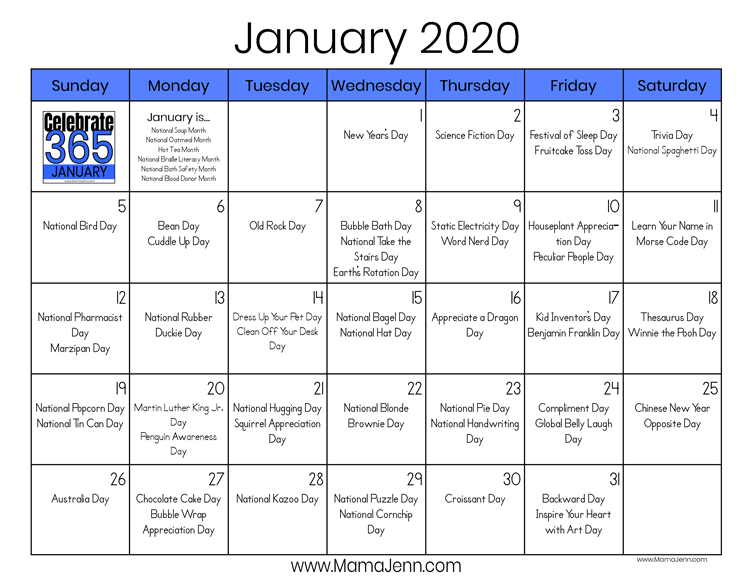 Celebrate 365 January 2020 calendar with holidays, birthdays, and special days