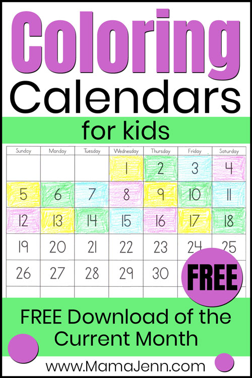 coloring calendar for kids with text overlay FREE Download of the Current Month