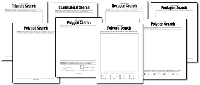 eight blank polygon search printable math pages