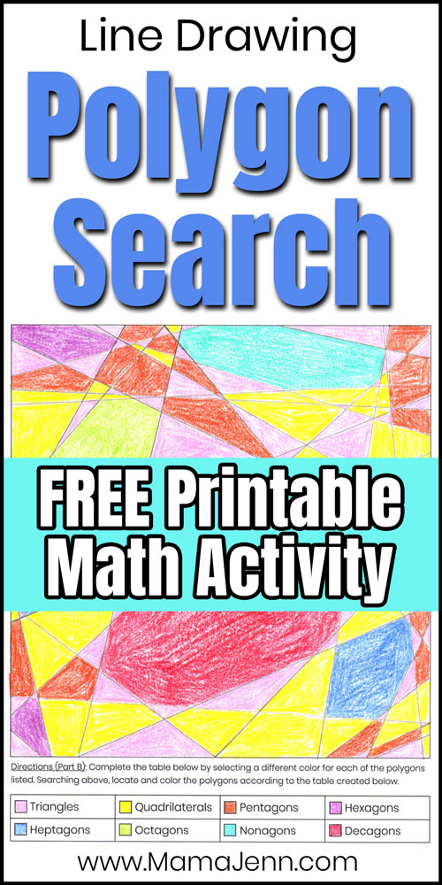 shape drawing worksheet with text overlay Line Drawing Polygon Search FREE Printable Math Activity
