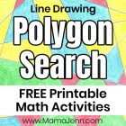 shape drawing worksheet with text overlay Line Drawing Polygon Search FREE Printable Math Activities
