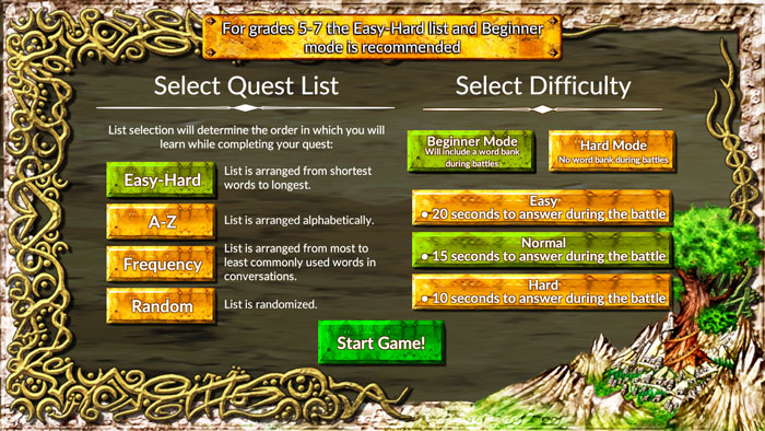 Vocabulary Quest Game Levels