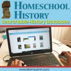 laptop with text overlay Homeschool History Searchable History Database