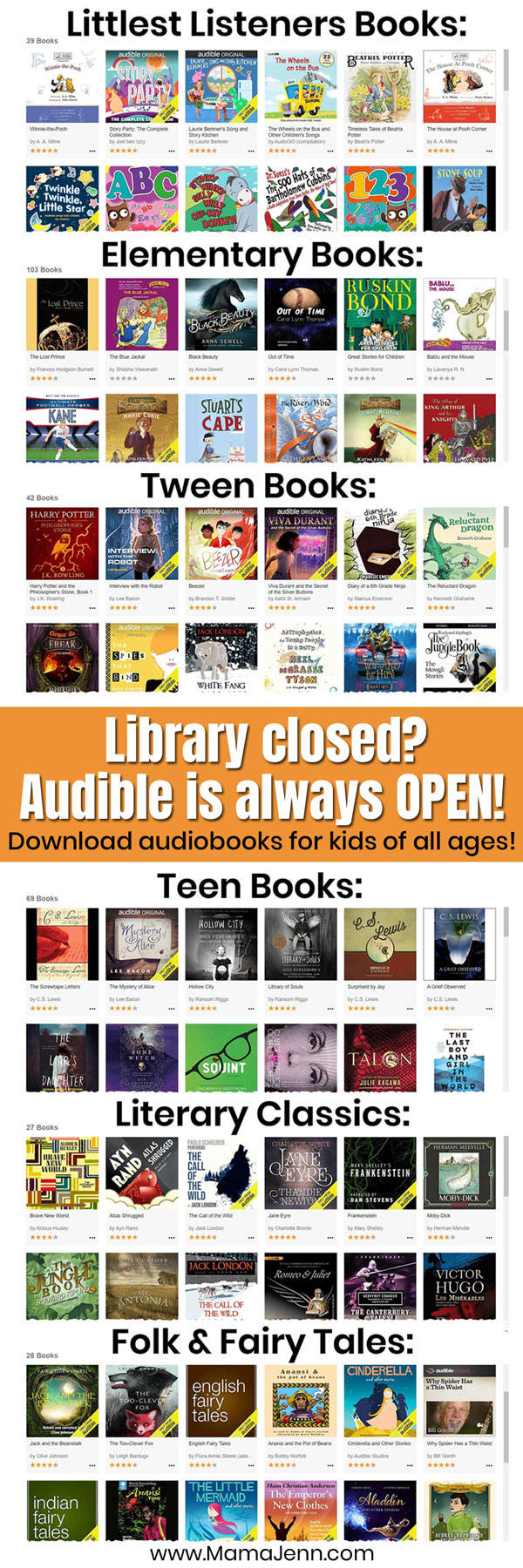 audiobooks for kids with text overlap Library closed? Audible is always OPEN! Download audio books for kids of all ages.
