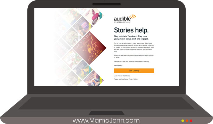 Audible website on laptop with audio books and text overlap Stories Help